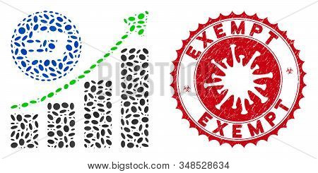 Collage Dash Growing Chart Icon And Red Round Corroded Stamp Seal With Exempt Phrase And Coronavirus
