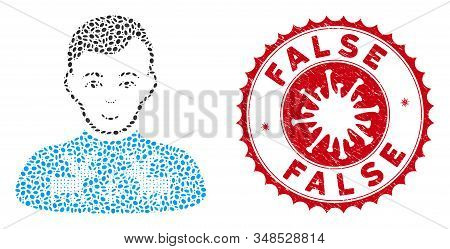 Mosaic Deers Pullover Boy Icon And Red Rounded Rubber Stamp Seal With False Phrase And Coronavirus S