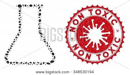 Mosaic Empty Flask Icon And Red Rounded Distressed Stamp Watermark With Non Toxic Caption And Corona