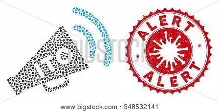 Mosaic Ito Alert Megaphone Icon And Red Round Grunge Stamp Seal With Alert Phrase And Coronavirus Sy