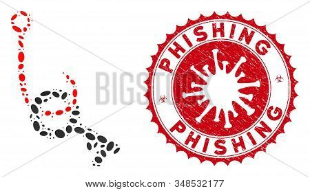 Collage Key Phishing Hook Icon And Red Rounded Rubber Stamp Seal With Phishing Phrase And Coronaviru