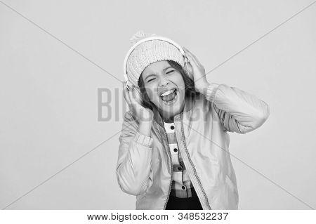 Dedicated To Singing. Small Singer Yellow Background. Happy Girl Enjoy Singing To Music. Singing Les