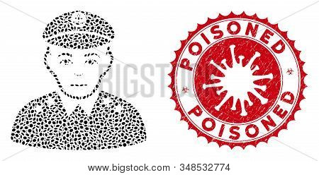 Mosaic Military Captain Icon And Red Round Corroded Stamp Seal With Poisoned Phrase And Coronavirus