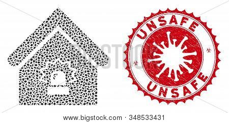 Collage Realty Alarm Icon And Red Round Distressed Stamp Watermark With Unsafe Phrase And Coronaviru