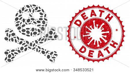Collage Sad Death Icon And Red Round Distressed Stamp Seal With Death Text And Coronavirus Symbol. M