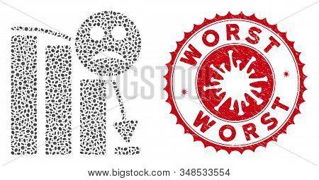 Mosaic Sad Decline Trend Icon And Red Round Grunge Stamp Watermark With Worst Caption And Coronaviru