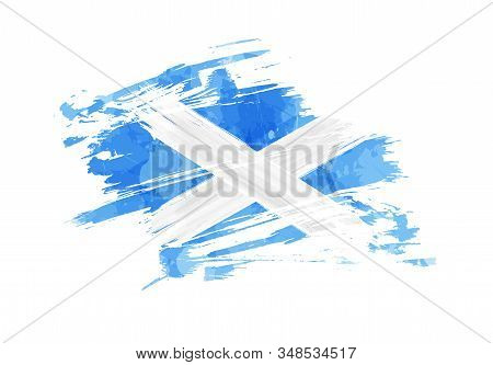 Grunge Painted Scotland Flag. Template For Invitation, Poster, Flyer, Banner, Etc. Abstract Watercol