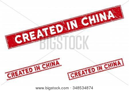Created In China Watermarks. Red Vector Rectangular Distress Seals With Created In China Text. Desig
