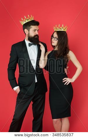 Dont Go To Prom Alone. Prom King And Queen. Sensual Woman And Bearded Man Wear Prom Crowns. Coronati