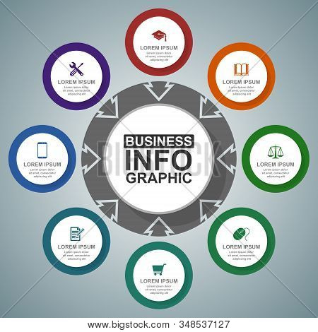 Business, Education, Law And Technology Diagram, Flat Design Circular Infographic Template, Web Vect