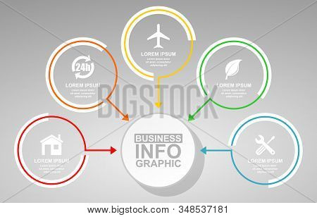 Business, Travel And Technology Vector Presentation, Flat Design Circular Infographic Template, Web