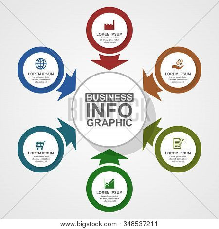 Business, Industry And Commerce Vector Template, Flat Design Circular Infographic, Web Diagram In 6