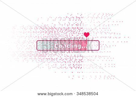 Progress Bar With Lot Of Hearts Scattering On. Download Love Valentines Day. Loading Animation Scree