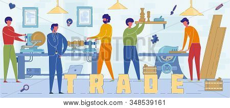 Professional Carpenter Trade Word Concept Banner. Cartoon Carpentry Experts Carving Wooden Details.