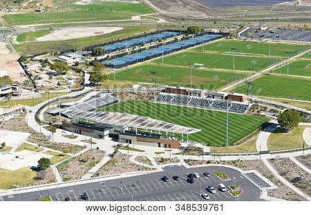 IRVINE, CALIFORNIA - 31 JAN 2020: Aerial View of the Soccer Stadium and Tennis Courts at the Orange County Great Park.