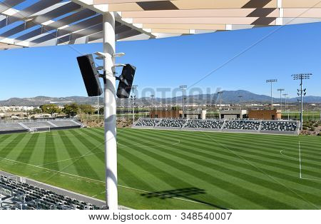 IRVINE, CALIFORNIA - 31 JAN 2020: The Championship Soccer Stadium at the Orange County Great Park, featuring seating for 2,500 spectators.