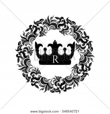 Crown In Round Floral Vintage Frame In Victorian Style, Damascus. Premium, Royal, Luxury Illustratio