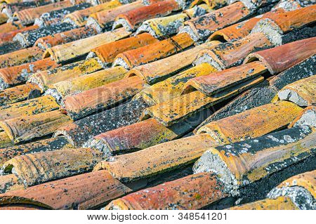 Texture Of The Old Shabby Shingles, Tiles On The Roof Of A Medieval European House, Patina, Close-up
