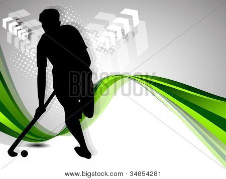 Silhouette of a hockey player with hockey stick and ball on colorful green abstract wave background. EPS 10. poster