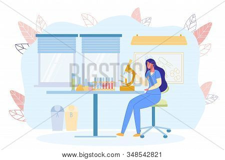 Conducting Blood Test In Professional Clinic. Female Laboratory Assistant Analyzes And Examines Them