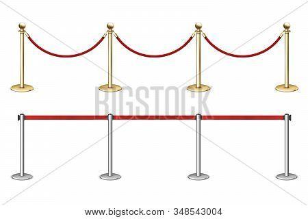 Golden Rope Barrier With Red Velvet Rope Fence.