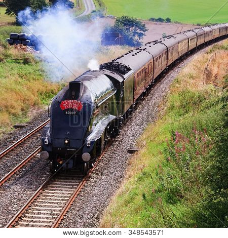 Langwathby, England - September 1: Preserved Sir Nigel Gresley Steam Locomotive Union Of South Afric
