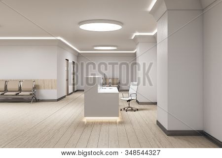 Modern Reception Desk With Computer In Medical Office Interior. Medical And Healthcare Concept. 3d R