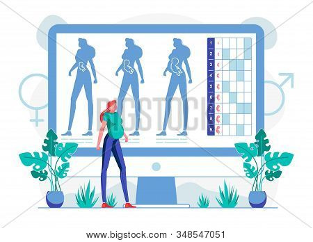 Foetus Growing In Belly Flat Vector Illustration. Pregnant Woman Watching Prenatal Development Webin