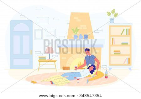 Happy Young Couple Spending Time Near Fireplace And Drinking Wine Flat Cartoon Vector Illustration.