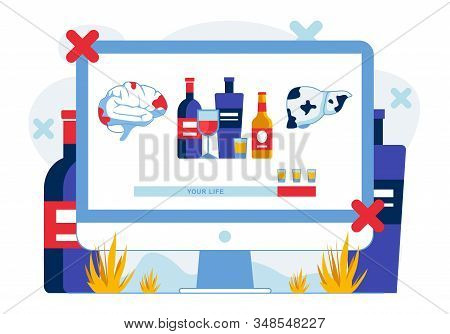 Alcohol Influence On Human Health Illustration. Alcoholic Beverages Consumption Damaging Brain And L