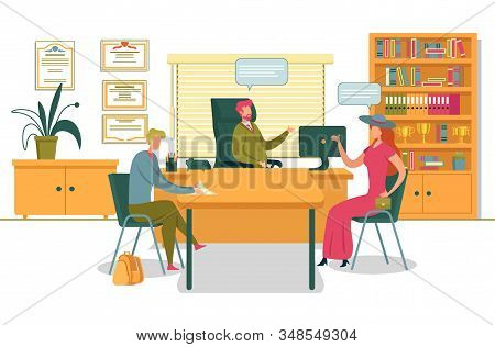 Mother With Son Coming To Deans Office To Discuss Progress Or To Enter University Flat Cartoon Vecto