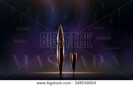 Styulish Fashion Golden Mascara Bottle. Brush And Mascara Tube. Golden Wand And Tube On Black Backgr