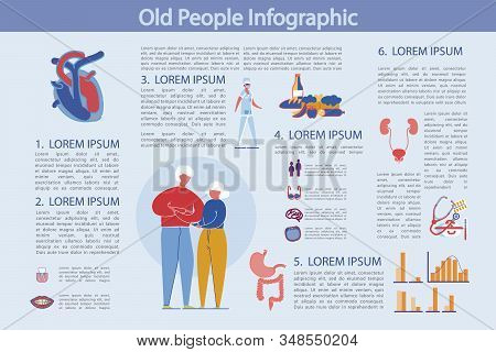 Life And Health Prevention Old People, Infographic. Older People Need To Take Care Health Heart, Sto