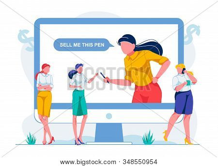 Performing Online Exercises In Selling Goods. Women Take Training Courses In Sales. Teacher From Big