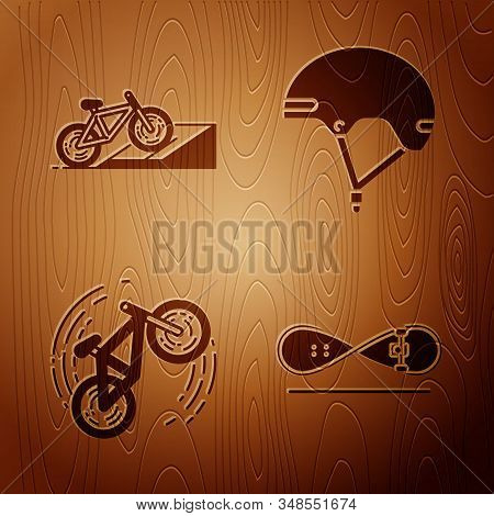 Set Skateboard Trick, Bicycle On Street Ramp, Bicycle Trick And Helmet On Wooden Background. Vector