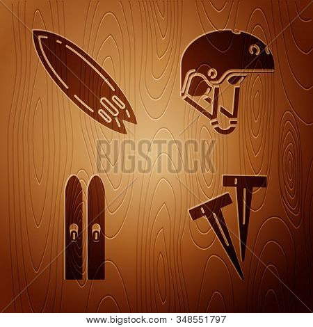 Set Pegs For Tents, Surfboard, Ski And Sticks And Helmet On Wooden Background. Vector
