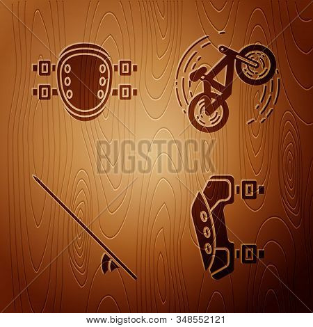 Set Knee Pads, Knee Pads, Surfboard And Bicycle Trick On Wooden Background. Vector