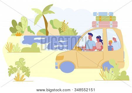 Happy Family Summer Time Vacation. Parents, Grandmother And Little Boy Riding Car With Baggage On Ro