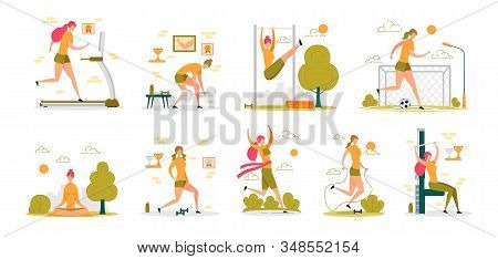 Sportive Active Woman Cartoon Character Performing Sport Workouts - Cardio Training, Gym And Fitness