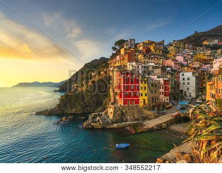 Riomaggiore Town, Cape And Sea Landscape At Sunset. Seascape In Cinque Terre National Park, Liguria