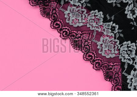 Black Women Underwear With Lace On Pink Background With Copy Space. Beauty Fashion Blogger Concept.