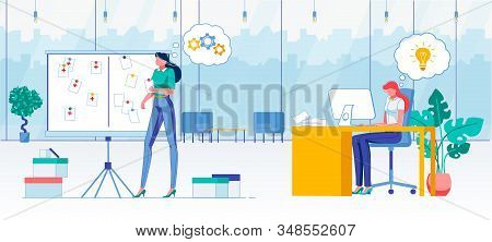 Work Task Accomplishment Flat Vector Illustration. Company Workers, Female Managers, Women In Office