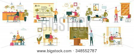 Student Sitting At Table In Dining Room, Boy Doing Presentation, Showing Building Plan Flat Cartoon