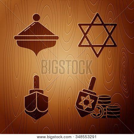 Set Hanukkah Dreidel And Coin, Hanukkah Dreidel, Hanukkah Dreidel And Star Of David On Wooden Backgr