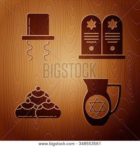 Set Decanter With Star Of David, Orthodox Jewish Hat With Sidelocks, Jewish Sweet Bakery And Tombsto