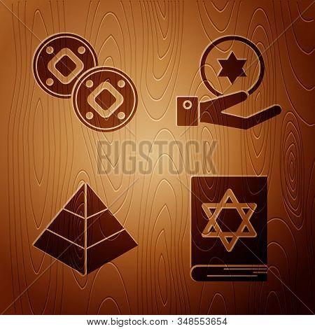 Set Jewish Torah Book, Jewish Coin, Egypt Pyramids And Jewish Coin On Hand On Wooden Background. Vec
