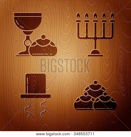 Set Jewish Sweet Bakery, Jewish Goblet And Hanukkah Sufganiyot, Orthodox Jewish Hat With Sidelocks A