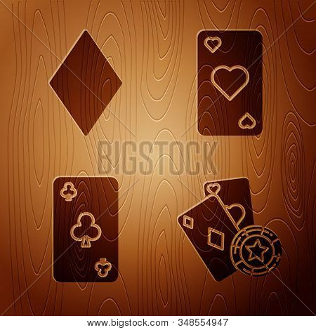 Set Casino Chip And Playing Cards, Playing Card With Diamonds Symbol, Playing Card With Clubs Symbol