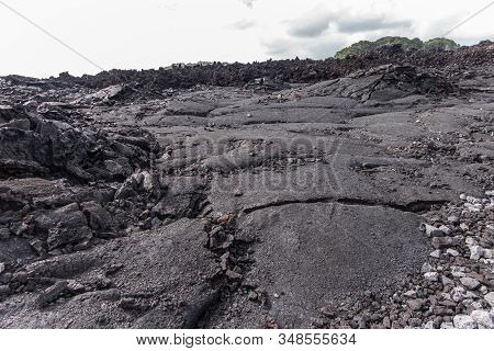 Leilani Estate, Hawaii, Usa. - January 14, 2020: Large 2018 Kilauea Volcano Eruption Hardened Black