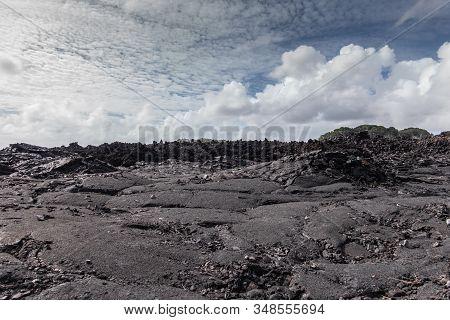 Leilani Estate, Hawaii, Usa. - January 14, 2020: Large 2018 Kilauea Volcano Eruption Hardened Black
